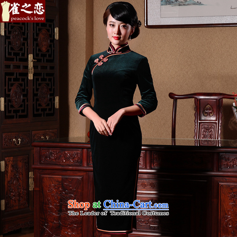 Love of birds pickup Hong Kong busy retro cheongsam dress stylish improved long wool qipao dark green L