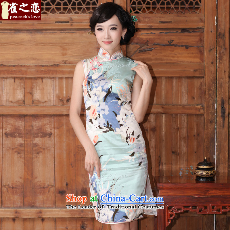 Love of birds without being aware of the爏pring and summer of 2015, the new 2 side of the retro short, heavyweight silk cheongsam dress燪D325爁igure燲XL