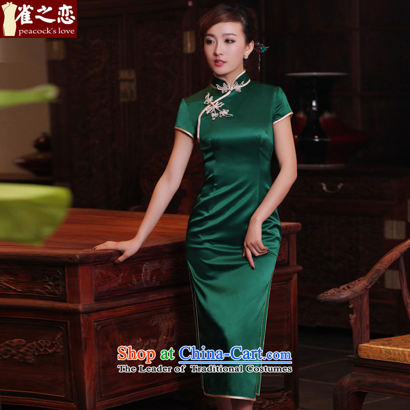 Love of birds green爏pring and summer 2015 micro-loaded silk short-sleeved retro long qipao QD302 dark green long燲L