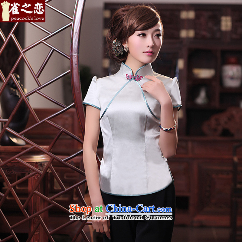 Love of birds in the�spring and summer of 2015, the surplus on the new Chinese Antique short of Silk Cheongsam shirt QD531 figure�XL