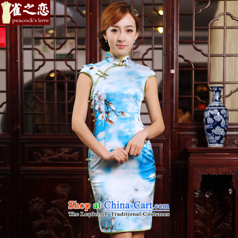 Love of Birds Watching Chor Image Jie?Summer 2015 new cheongsam dress Silk Cheongsam QD494 short of daily figure?L