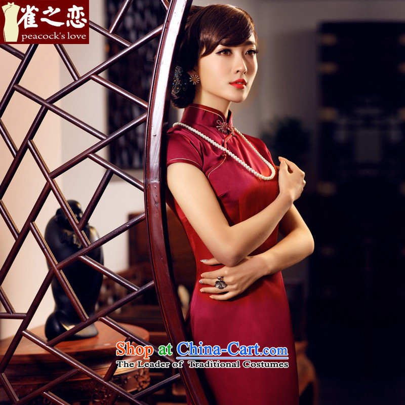 A love of birds have Xuan�15 Summer new short-sleeved long Silk Cheongsam QD440 dark red燣