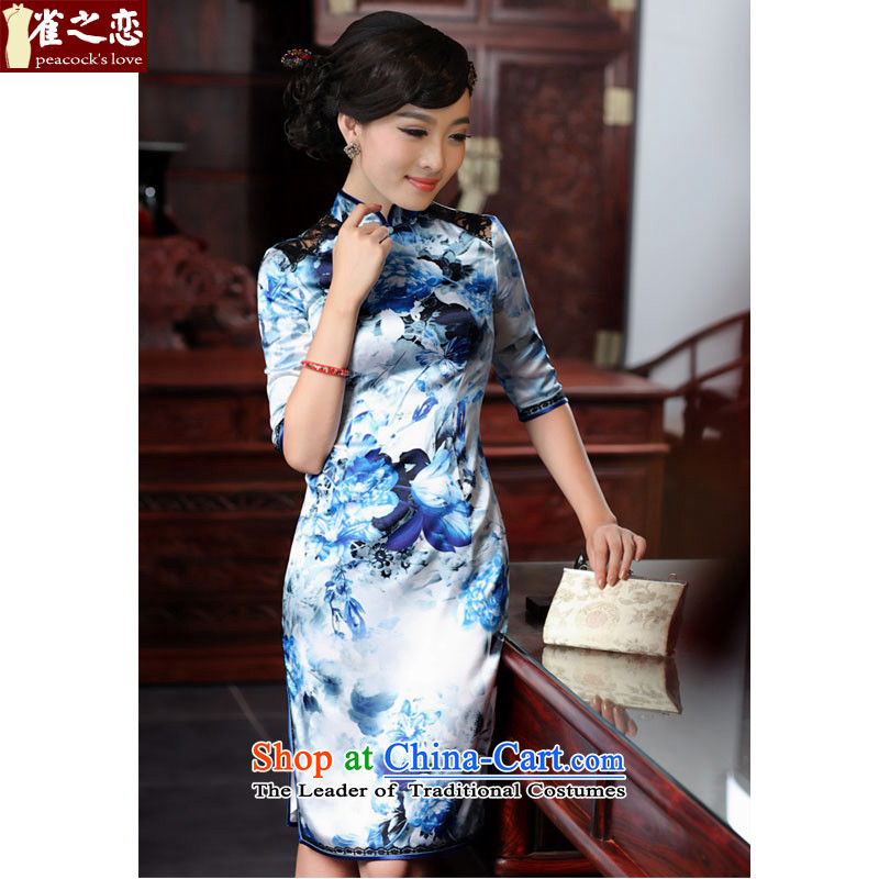 Love birds such as laugh Hsiang-lan,?spring 2015 new cheongsam dress retro. Stylish and elegant cuff Silk Cheongsam QD550 BLUE?L