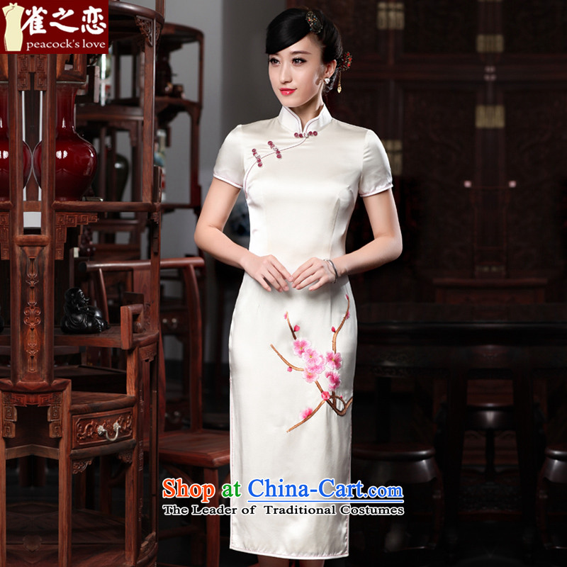 Love of birds cis shangqing boat�15 Summer New Silk short-sleeved hand embroidery cheongsam QD535 White燲L