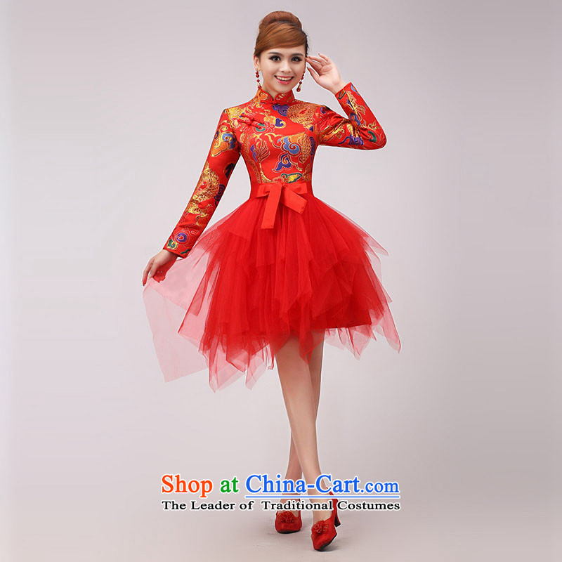 The knot true love marriages bows services 2015 new improvement qipao stylish Chinese long-sleeved red qipao winter red?L