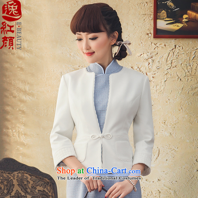 Lady Hua Rong Autumn Yat) 7 to replace the autumn 2015 cuff jacket ethnic Ms. Tang Dynasty Chinese shirt white?L Jacket
