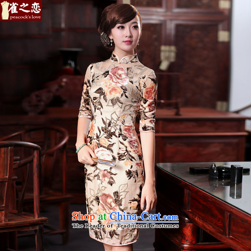 Love birds in the brachial Fong Chau?Spring 2015 New Silk burned lint-free daily qipao?QD534 retro?figure?L