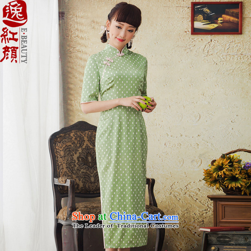 Il Lady Qin Yuan dot stamp long Silk Cheongsam improved retro herbs extract cheongsam dress the green燲L