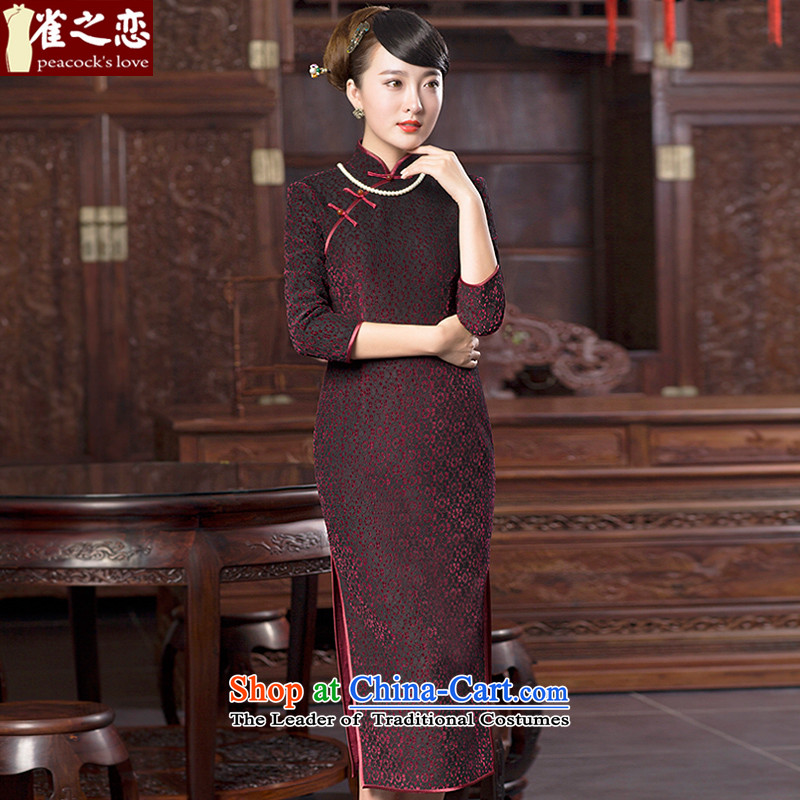 Love of birds?spring 2015 new lace wool composite cheongsam dress improved stylish long qipao QC615 figure?S