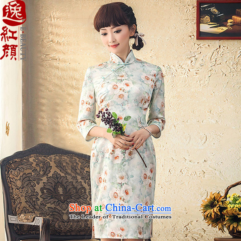 A Pinwheel Without Wind-ju Yui Autumn Yat New Silk Cheongsam dress_ herbs extract the daily life of qipao improved retro-sleeved green聽M
