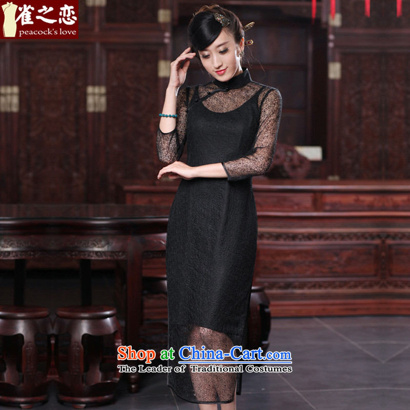 Love of birds and wind�spring 2015 hear new improved stylish two kits of Silk Cheongsam QD537 sexy black�XXL