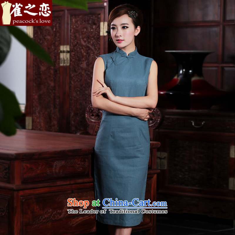 Love of birds of the dumping of summer 2015 new retro arts cotton linen dresses long cotton linen cheongsam dress Blue M