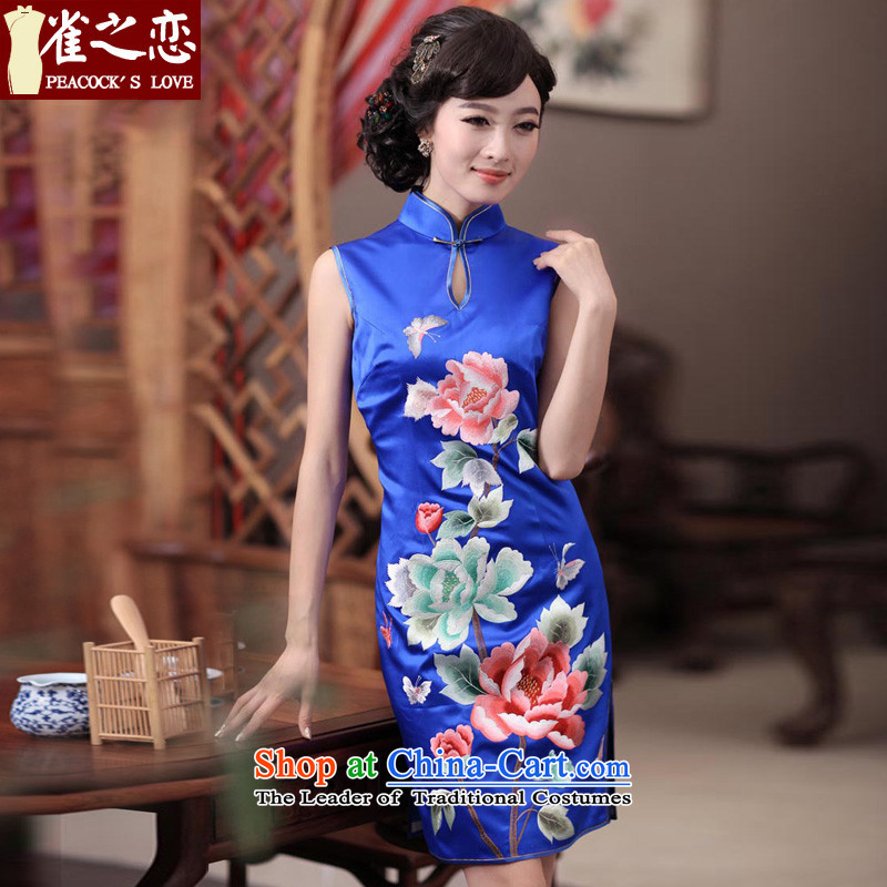 Love of birds Dan embroidered?2015 Summer New elegant hand embroidered heavyweight Silk Cheongsam QD344 BLUE?XL