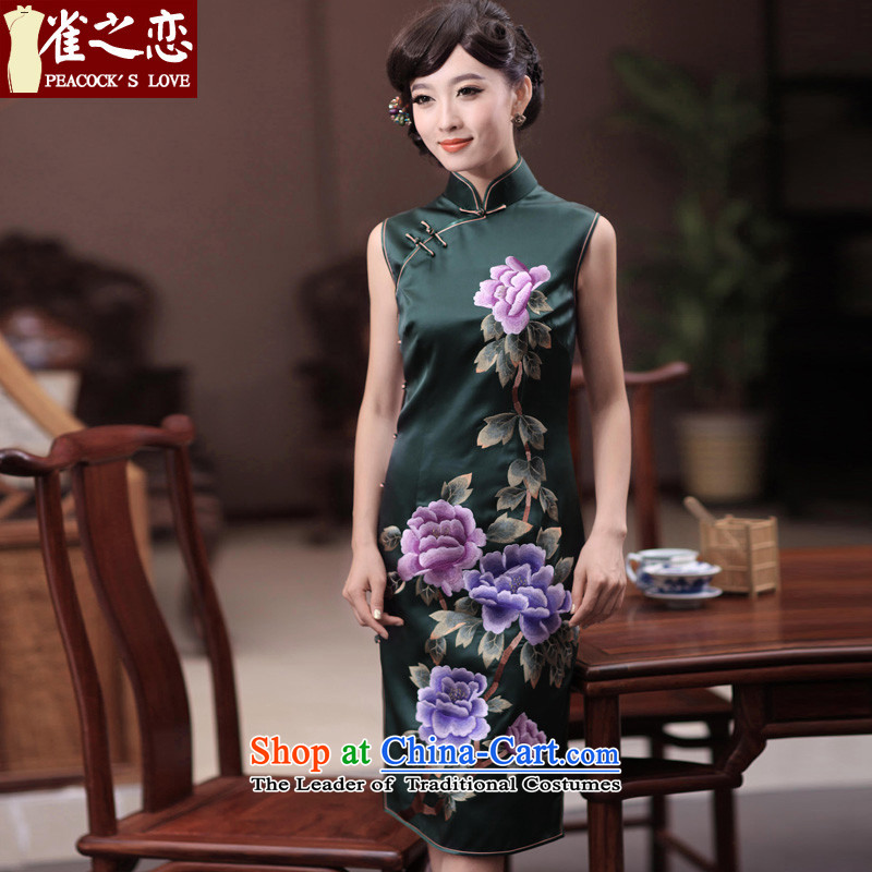 Love of birds Jiangcheng Sub?2015 Summer new double side pushing embroidered heavyweight Silk Cheongsam QD346 GREEN?M