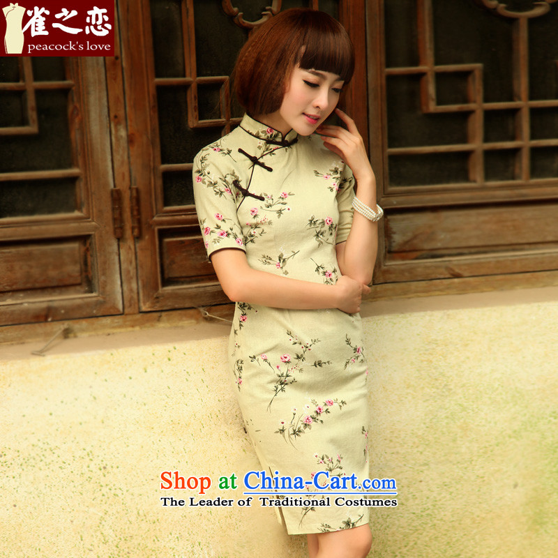 The love of birds on shadowing�2015 Summer New Stylish retro short of cotton linen dresses QD521 light green�L