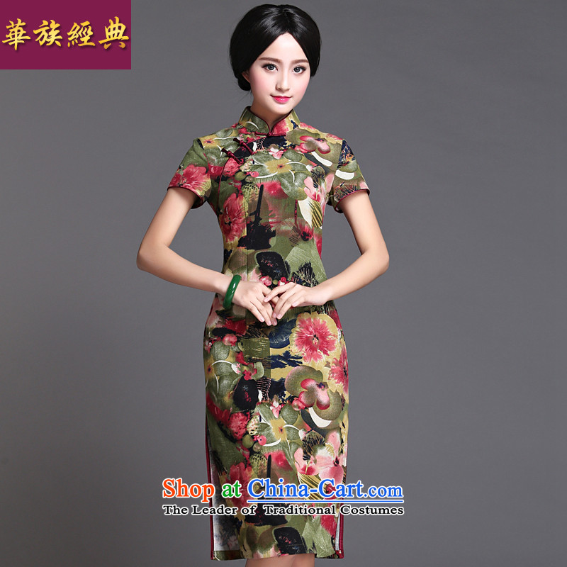 Chinese classic 2015 spring and summer-new improvements in cotton linen Ms. long cheongsam dress retro improved Sau San suit?S