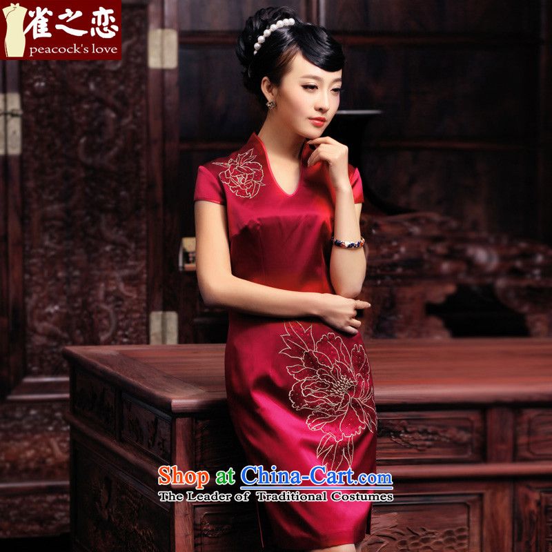 Love of birds is Between聽Spring 2015 new hand made embroidered ironing drill heavyweight Silk Cheongsam QD443 improved deep red聽XL