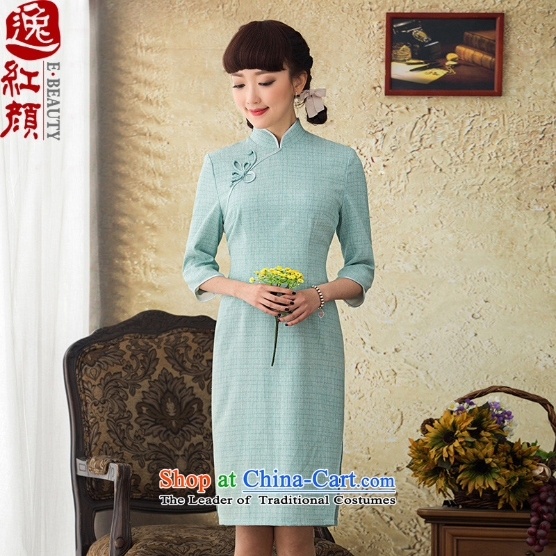 A Pinwheel Without Wind Ya Hsin Yi New Spring Loaded 7 cuff qipao improved long qipao and stylish 2015 Sau San dresses blue?L