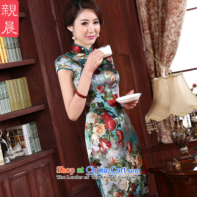 At 2015 new pro-autumn day-to-day summer upscale silk improved stylish Ms. herbs extract cheongsam dress dresses green background green edge short of�L-75cm silk embroidery created from the waist