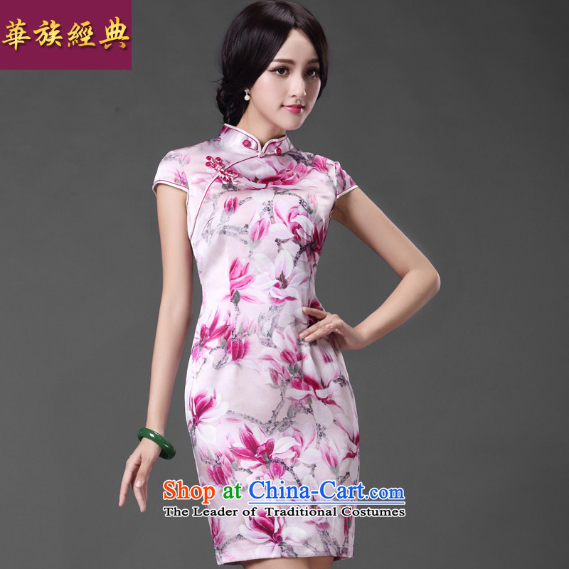 China Ethnic Classic _ Mr NGAN ..2015 overnight new recommended improved Stylish retro look like short cheongsam dress fuchsia     of the forklift truck qipao燲L