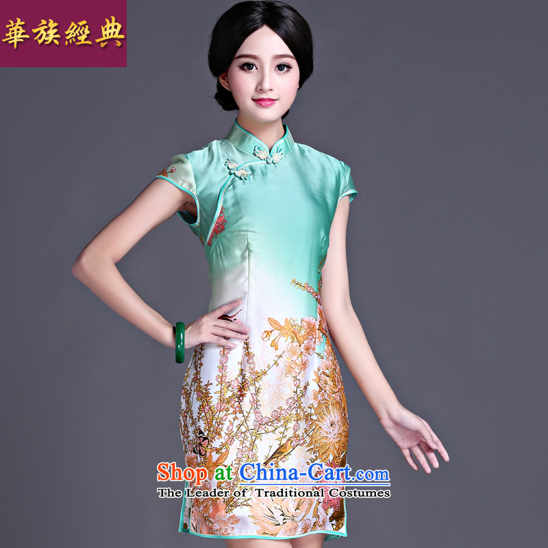 Chinese Classic spring and summer fall ethnic new retro chinese president cheongsam dress temperament elegant improved green?XXXXL Sau San
