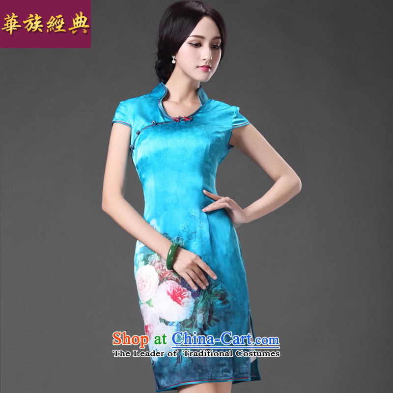 Chinese New Year 2015 classic ethnic Chinese Antique high precious Silk Cheongsam daily lb sauna silk cheongsam dress spring and summer blue燲L