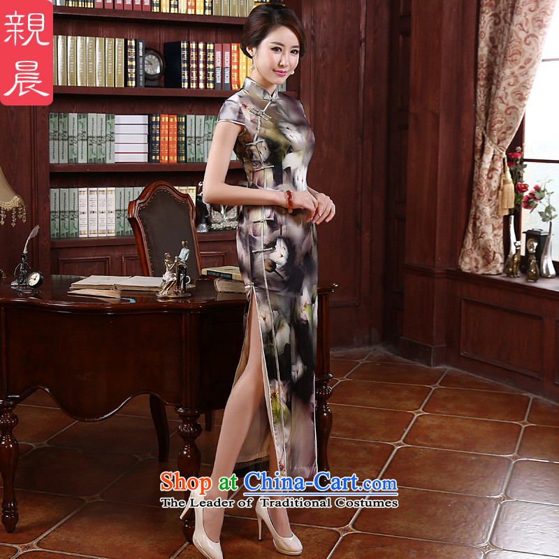 At 2015 new pro-summer retro upscale silk long improved stylish heavyweight herbs extract cheongsam dress photo color L-75cm silk embroidery created from the waist