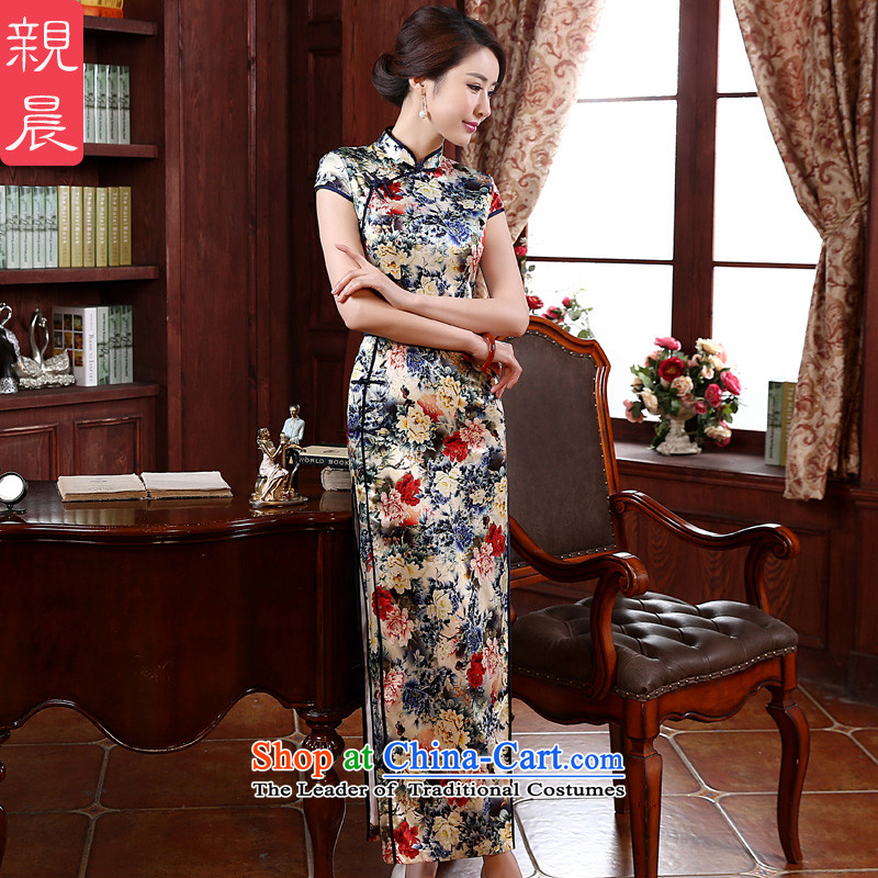 The new 2015 pro-morning in summer and autumn day-to improve long silk retro upscale herbs extract Sau San cheongsam dress photo color 2XL- 83cm waist
