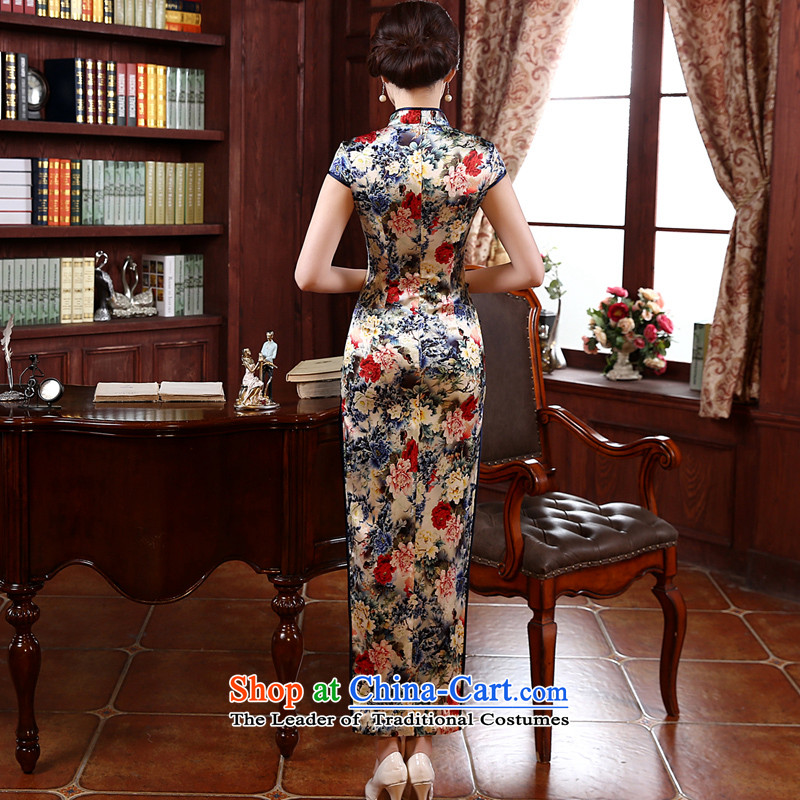 The new 2015 pro-morning in summer and autumn day-to improve long silk retro upscale herbs extract Sau San cheongsam dress photo color 2XL- waist 83cm, pro-am , , , shopping on the Internet