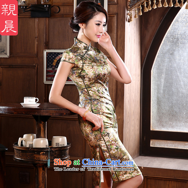 The pro-am new summer and fall of nostalgia for the improvement of fashionable upper heavyweight herbs extract silk cheongsam dress, short skirt picture color?s waistline 67cm