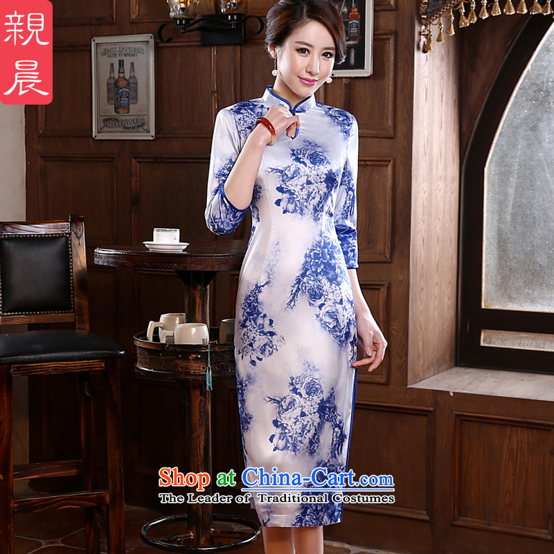 The pro-am daily autumn 2015 new summer retro improved stylish porcelain in long-sleeved cheongsam dress dresses porcelain 2XL- 83cm waist