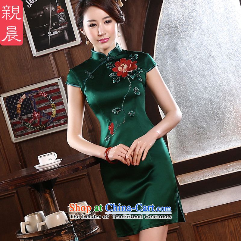 2015 new cheongsam dress in summer and autumn, improved retro fitted short skirt Girl Exclusive heavyweight herbs extract silk green 3XL- 83cm waist