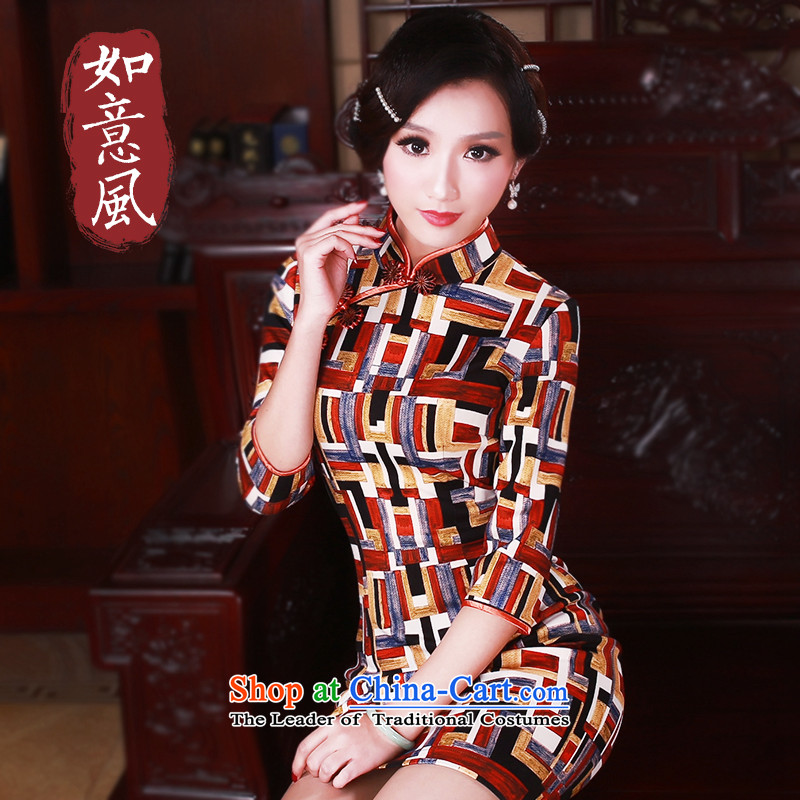 After a day of Wind?China wind in 2015 Stamp cuff cheongsam dress Stylish retro spring female qipao?5037 suit?L