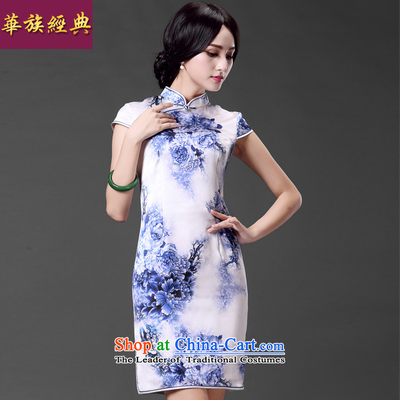 China Ethnic classic improved high precious Silk Cheongsam Ms. lb herbs extract short-sleeved dresses Sau San arts retro suit?L