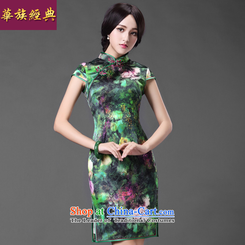 China Ethnic classic spring and summer stylish Ms. daily heavyweight silk herbs extract cheongsam dress improved green聽XXXL retro short