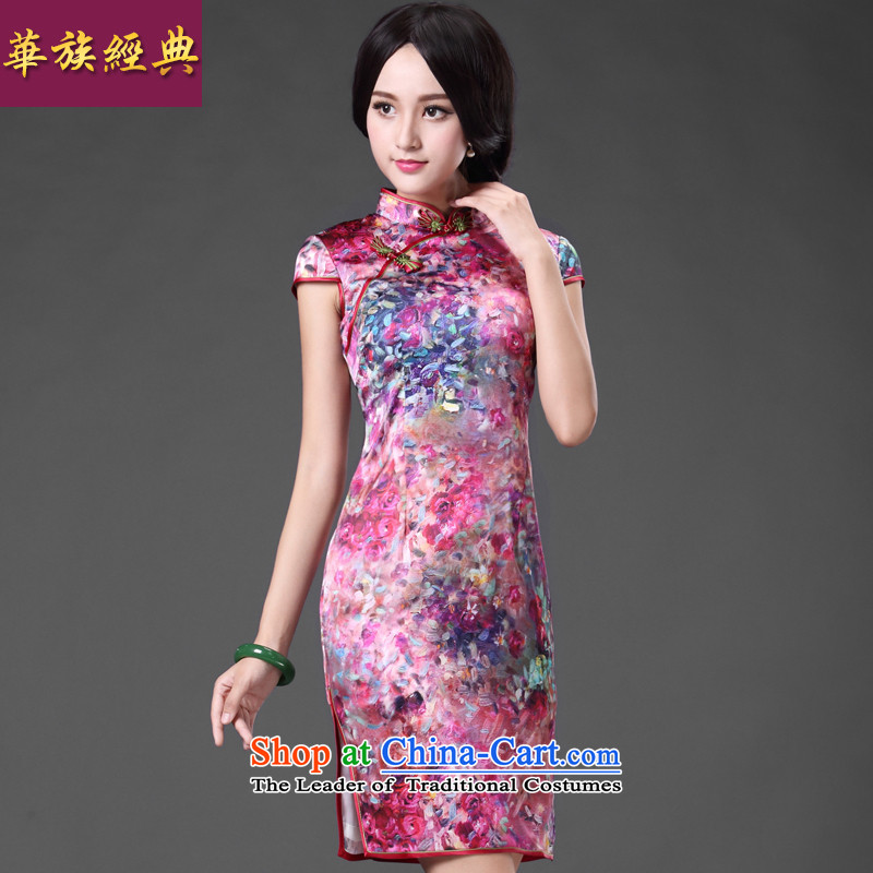 China Ethnic classic heavyweight silk herbs extract Ms. daily temperament cheongsam dress short, elegant reminiscent of the improved聽XXXL Suit