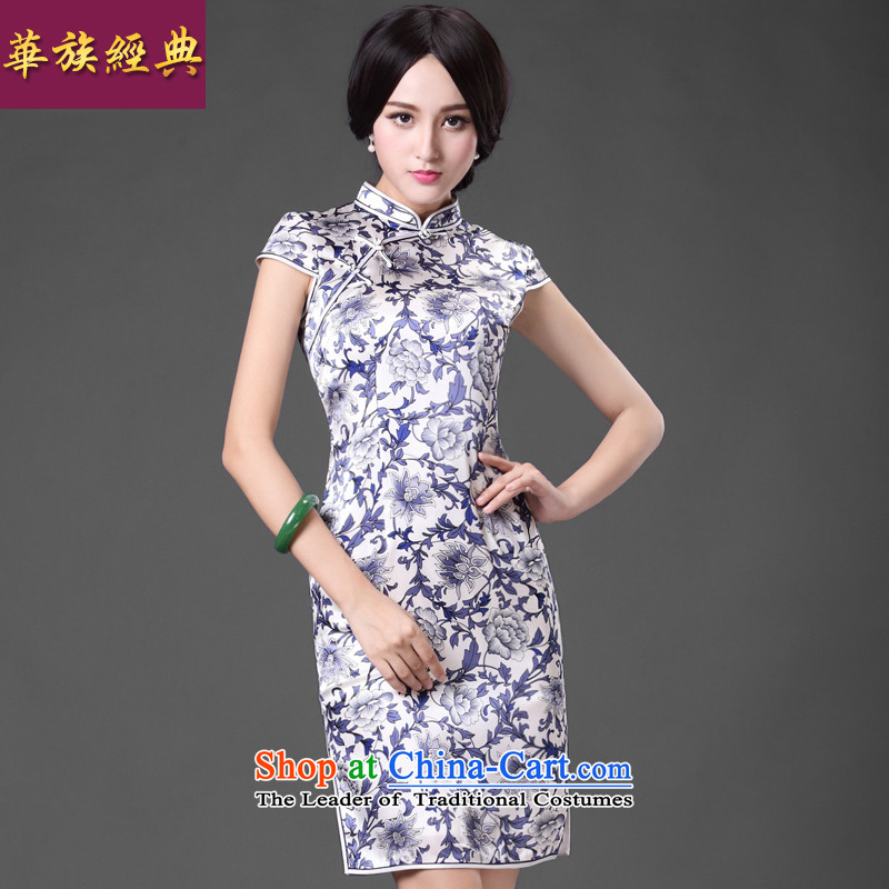 Chinese classic 2015 spring and summer-new retro improved stylish porcelain heavyweight silk cheongsam dress daily?XXXL Suit