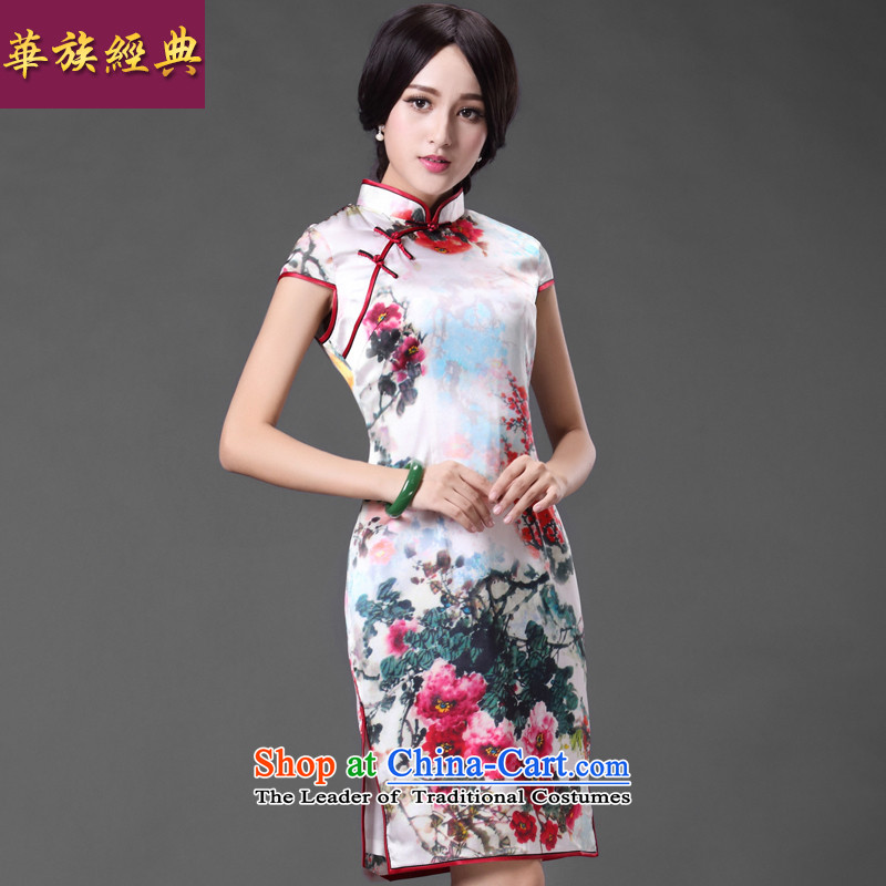 China Ethnic classic daily heavyweight Silk Cheongsam herbs extract Stylish retro, video thin improved short of the spring and summer, Suit?M