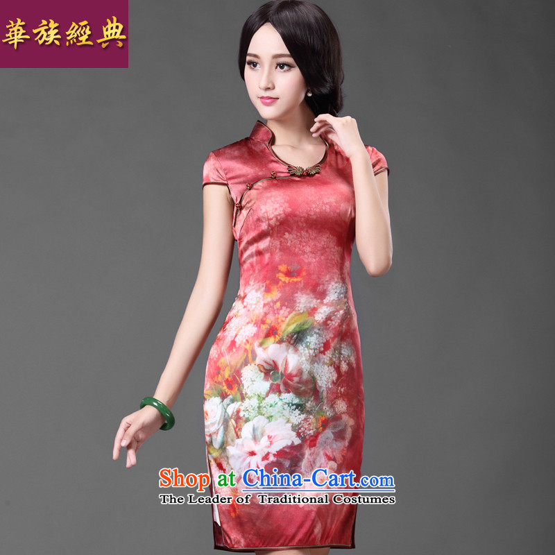 Chinese classic 2015 spring and summer-new daily heavyweight silk cheongsam dress noble retro Sau San female suit燲L