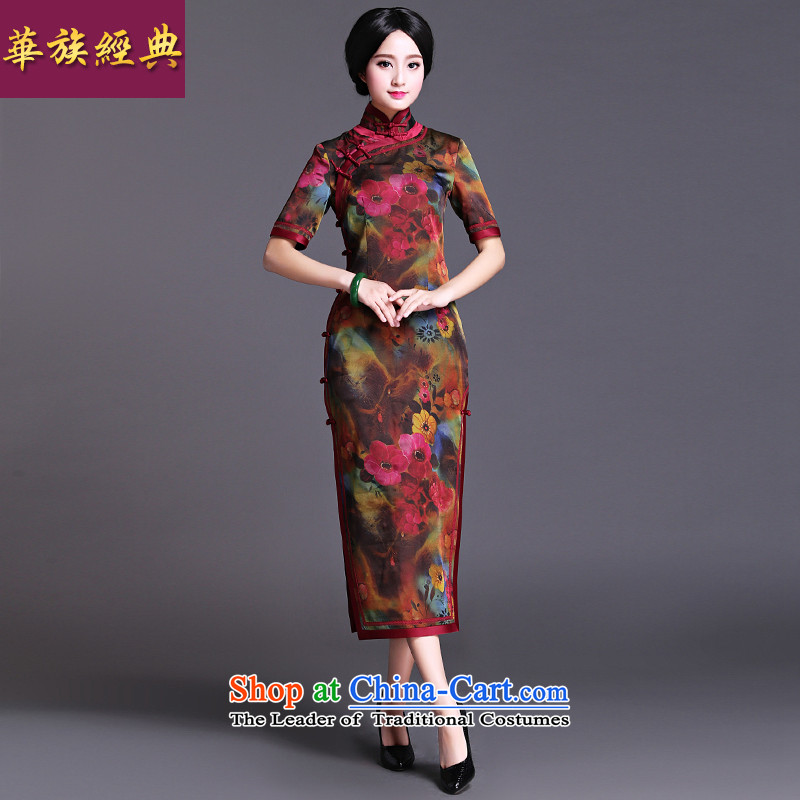 Chinese classic 2015 spring and summer-new neo-classical chinese president long cheongsam dress Stylish retro improved himself?L