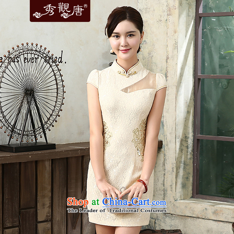 -Sau Kwun tong-, stylish improved qipao 2015 Gigi Lai summer new cheongsam dress temperament daily sexy retro dresses apricot聽XL