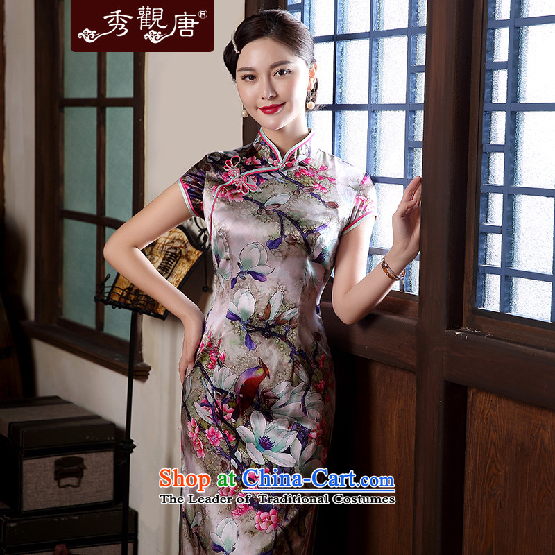 [Sau Kwun Tong] is estimated Shanghai silk fabric stylish qipao king skirt?2015 Spring/Summer new retro look high-end qipao suit?XXL