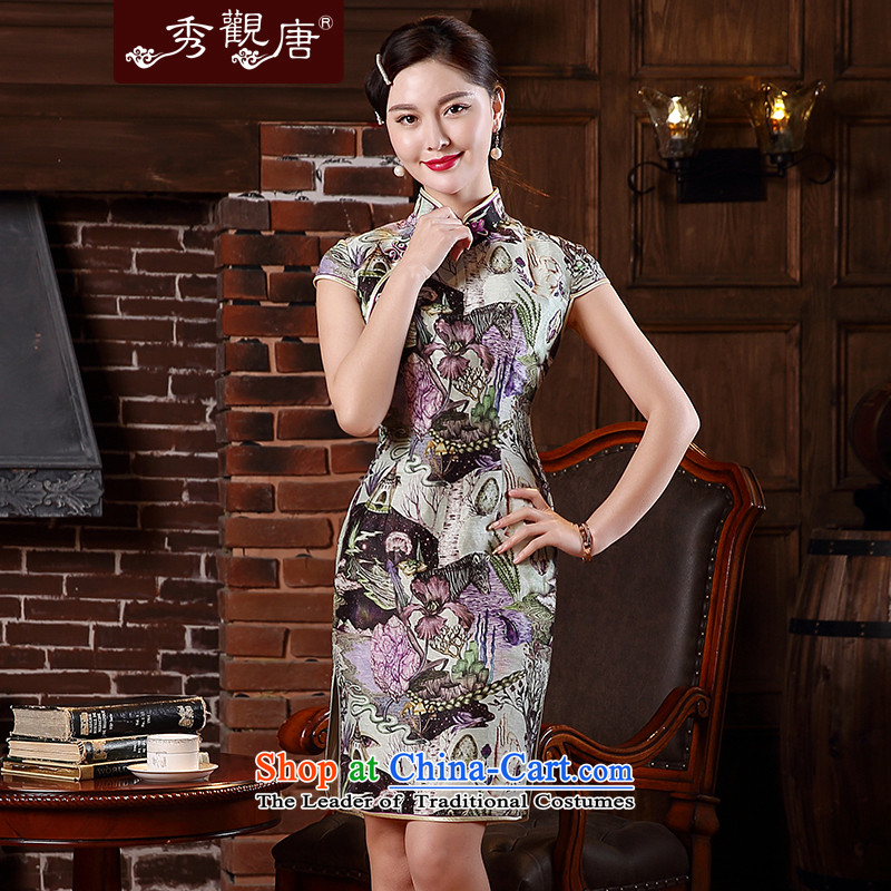 -Sau Kwun Tong- country to replace the spring and summer of 2015, the new improved Silk Cheongsam Stylish retro dresses QD5146 SUIT燬