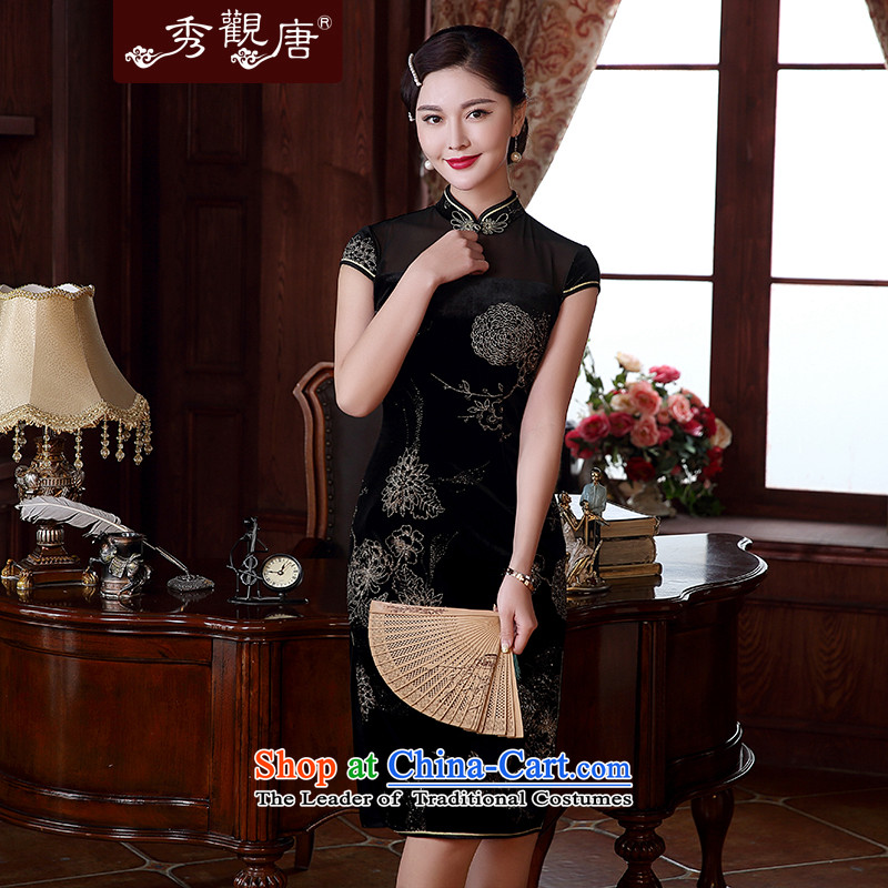 -Sau Kwun Tong- 2015 spring_summer night included new Jewish silver temperament cheongsam dress stylish improved retro dresses QD5117 black燤