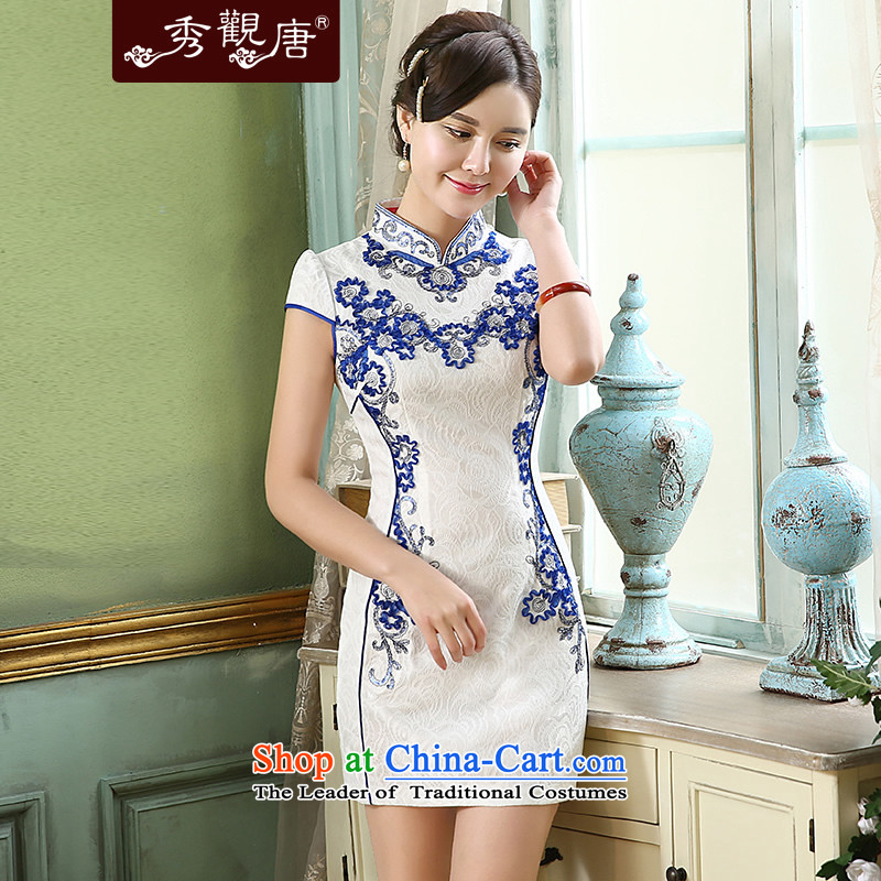 [Sau Kwun Tong] included improved chin qipao 2015 Summer New Stylish retro pearl embroidered dress QD5151 blue and white S