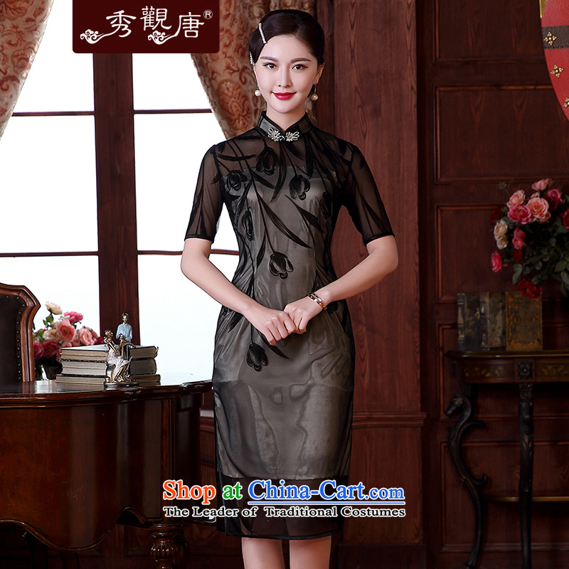 -Sau Kwun Tong- Chunhyang flocking temperament retro qipao Summer 2015 new improved Sleek and Sexy dresses QD5116 black燤