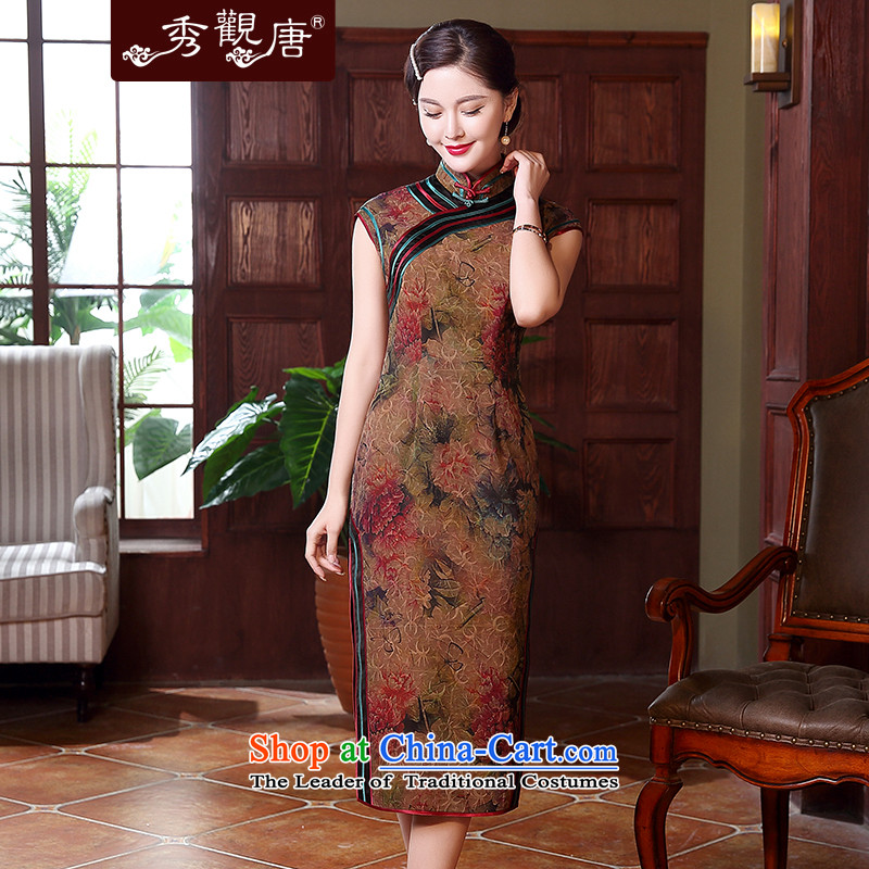 [Sau Kwun Tong] Cayman silk incense Yue Yun yarn high-end antique dresses�spring and summer 2015 temperament new herbs extract cheongsam dress QD5120 SUIT�L