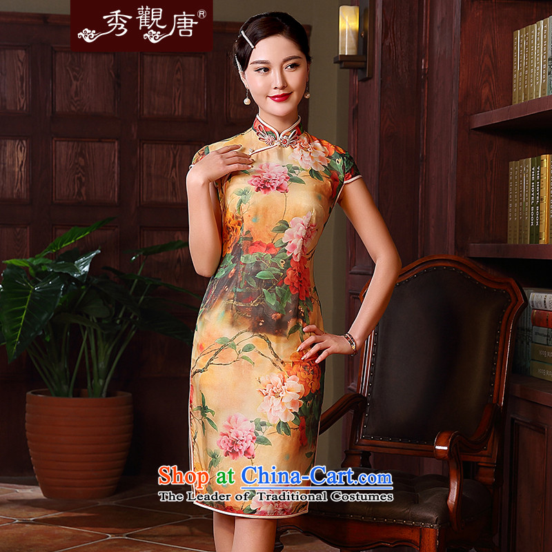 -Sau Kwun Tong- for the 2015 spring_summer Mudan New Silk Cheongsam look like in the long antique dresses and sexy QD5135 Suit燤