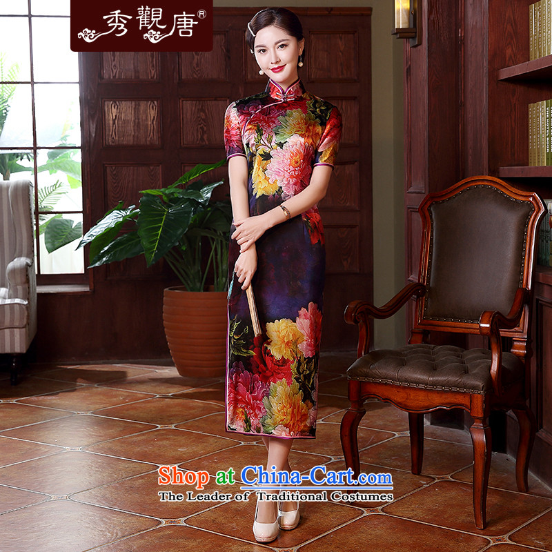 -Sau Kwun Tong- light SHANGHAI KING Silk Cheongsam high-end temperament in herbs extract Long of the forklift truck QD5119 dress suit燲XL