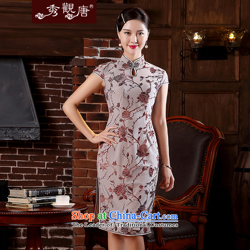 -Sau Kwun Tong- spent spring and summer 2015 Rong New Crystal Cotton improved cheongsam look stylish retro dresses QD5109 GRAY?XL